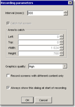 AtPresent Recorder Pro recording parameters dialog